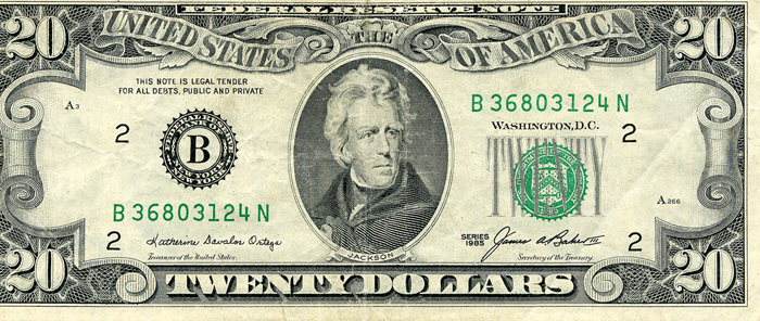 The Series 1985 $20 United States Bill