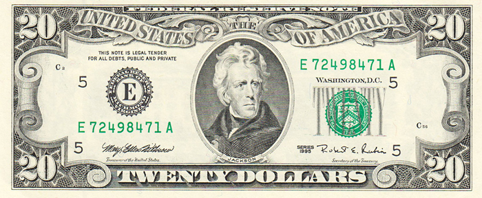 1995 Twenty Dollar Bill