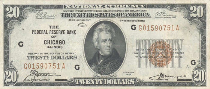 1929 Twenty Dollar Bill